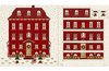 Magic Christmas, Adventskalender Haus rot auf hell, von Stoffabrics
